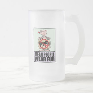 Men People Wear Fur Frosted Glass Beer Mug