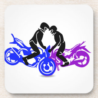 Men performing stunt on motorbike drink coaster