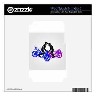 Men performing stunt on motorbike iPod touch 4G decals