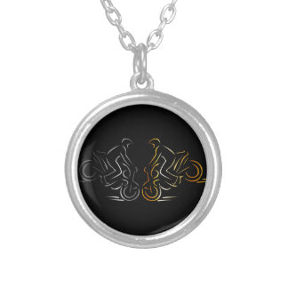 Men performing stunt on motorbike silver plated necklace