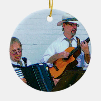 Men Playing Accordion and Guitar Double-Sided Ceramic Round Christmas Ornament