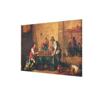 Men Playing Backgammon in a Tavern Canvas Print