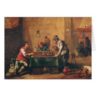 Men Playing Backgammon in a Tavern Card