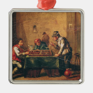 Men Playing Backgammon in a Tavern Metal Ornament