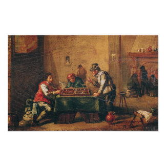 Men Playing Backgammon in a Tavern Poster