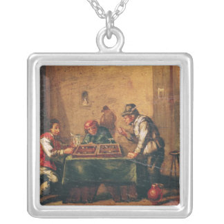Men Playing Backgammon in a Tavern Silver Plated Necklace