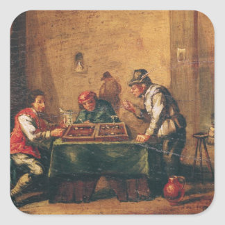 Men Playing Backgammon in a Tavern Square Sticker