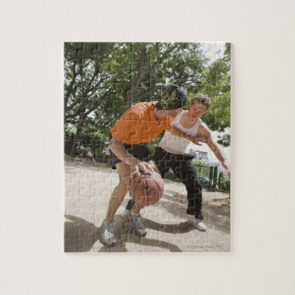 Men playing basketball outdoors puzzle