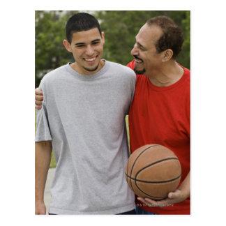 Men playing basketball postcard