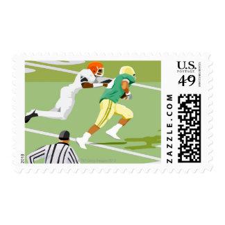 Men playing football 2 postage