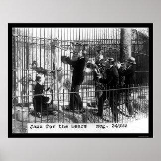 Men Playing Jazz Music by a Polar Bear 1924 Poster