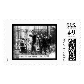 Men Playing Jazz Music by a Polar Bear 1924 Stamp
