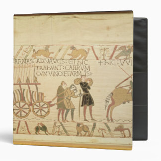 Men pulling a cart loaded with wine and arms 3 ring binder