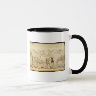 Men pulling a cart loaded with wine and arms mug