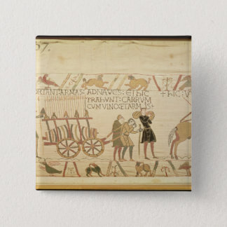 Men pulling a cart loaded with wine and arms pinback button