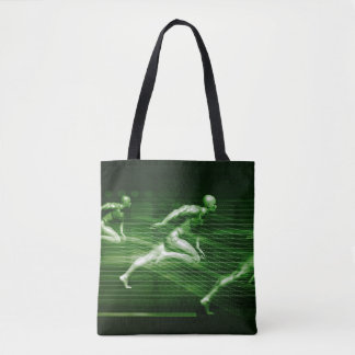 Men Running on Technology Background as a Science Tote Bag