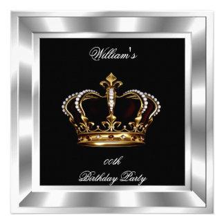 Men s Elegant Black Silver Birthday Prince King Custom Invite