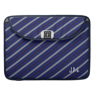 Men's Navy Blue Gray Red Tie Stripe Macbook Sleeve