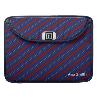 Men's Navy Blue Red Gray Tie Stripe Macbook Sleeve