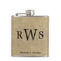 """Men""""s Western Monogram Faux Leather Buckskin Flask"""