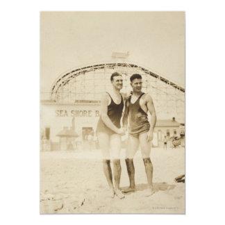 Men Standing on Beach Card