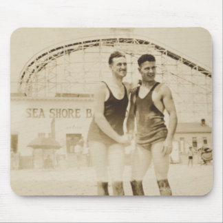 Men Standing on Beach Mouse Pad