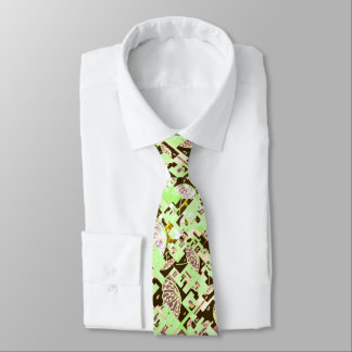 Men Ties white green brown umbrellas custom
