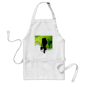 Men Walking With Backpacks Luggage Silhouette Adult Apron