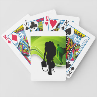 Men Walking With Backpacks Luggage Silhouette Bicycle Playing Cards