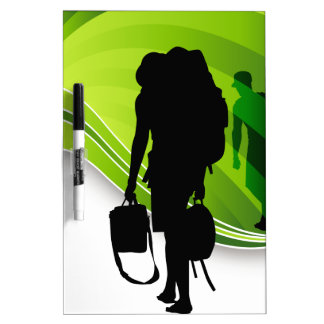 Men Walking With Backpacks Luggage Silhouette Dry Erase Board