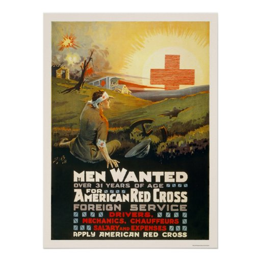 Men wanted for Red Cross Foreign Service Poster