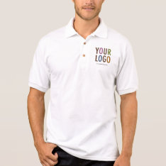Men White Business Polo Shirt With Custom Logo at Zazzle