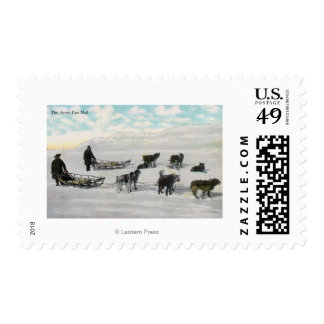 "Men with ""Artic Fast Mail"" Dogsled Postage"