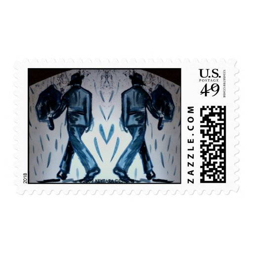 Men with Umbrellas  8517, ©2009 KEYTARA DESIGNS Postage Stamp