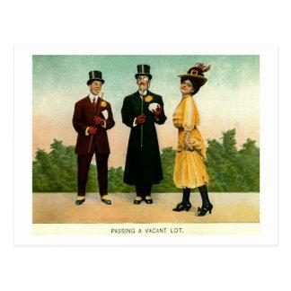 Men Woman Top Hat Spats Vintage Humor Postcard