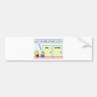 men women kids bathroom restroom bumper sticker