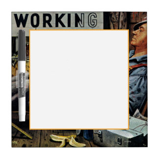 Men Working Dry Erase Board