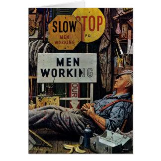 Men Working Greeting Card