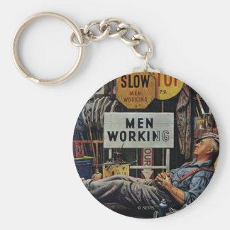 Men Working Keychain