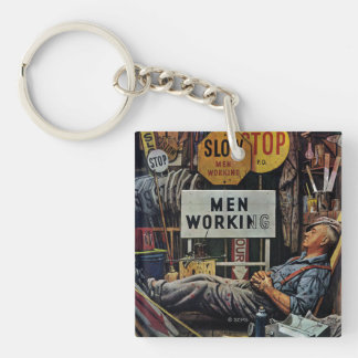 Men Working Double-Sided Square Acrylic Keychain