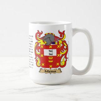 Mena, el origen, el significado y el escudo taza de café