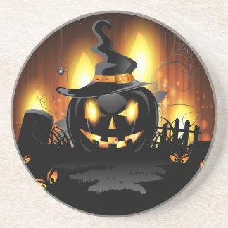 Menacing Black Pumpkin Halloween Coaster