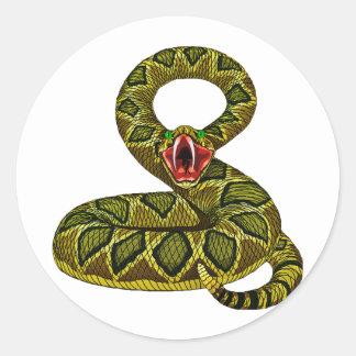 Menacing Rat Snake Classic Round Sticker
