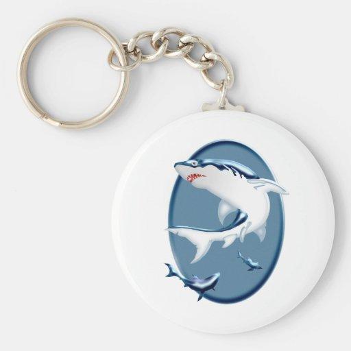 Menacing Underwater Sharks Keychain