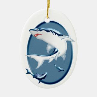 Menacing Underwater Sharks Ornaments