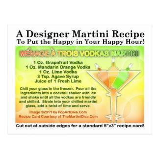 Menage a Trois Vodkas Martini Recipe Postcard