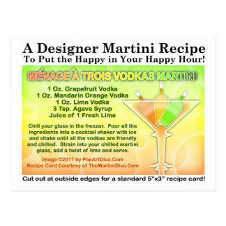 Menage una postal de la receta de martini de vodka