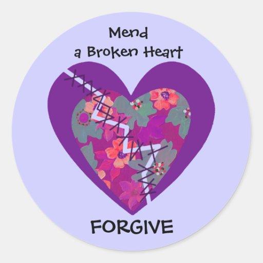 mend a broken heart classic round sticker