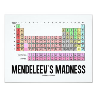 Mendeleev's Madness (Periodic Table Of Elements) Card