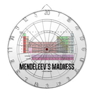 Mendeleev's Madness (Periodic Table Of Elements) Dartboard With Darts